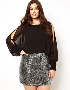 Club L Plus Size Split Sleeve Dress with Sequin Skirt #plussize #asos #plussizefashion #plussizeblog