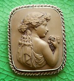 Bacchante Date: ca. 1830-50 Origin of the cameo: Italy Size: 2 1/8 x 1 13/16 (55 x 47 mm) Condition: mint. Minor damages on board