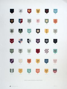 Sigils of the Houses of Westeros Poster – all the sigils from Game of Thrones represented in simple, monoline icons; offset printed with UV inks and foil stamping on top. $35 with shipping. #print #gameofthrones #tv #HBO #poster #posters #foil