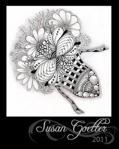 , draw, flickr, zentangl inspir, zentangl art, doodl art, zen flower, bouquets, susan goetter, zentangle zia tangles