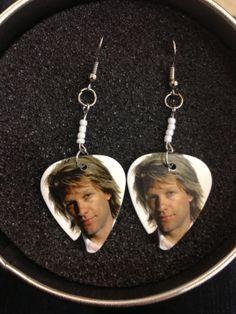 Bon jovi white guitar pick earrings