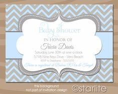 Chevron  Light Blue and Gray Grey  Baby Shower by starwedd on Etsy, $16.00
