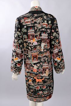 A Chinese coat made for the Western market is beautifully embellished with people, animals, garden scenes and flowers.