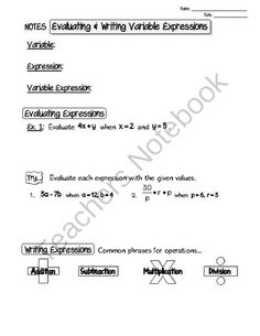 Guided Notes on Evaluating and Writing Variable Expressions from JulieTejeda on TeachersNotebook.com -  (4 pages)  - Guided notes on evaluating and writing variable expressions