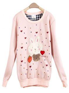 Pink Rabbit Round Neck Long-sleeved Sweatshirt$36.00