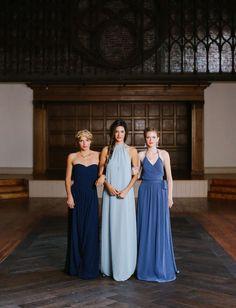Modern blue Joanna August bridesmaid dresses