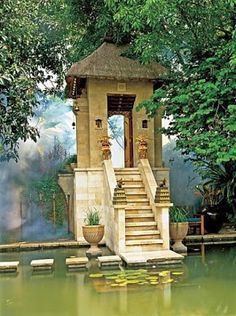 stair, architectural digest, water gardens, indonesia, medit gate, meditation, java, gates, spa