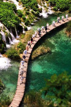 Plitvice, Croatia = Very unique bridge