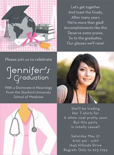 Celebrate the Med School Grad with this Noteworthy Collections graduation invitation!