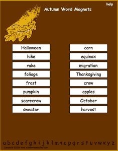 Fall vocabulary words, interactive word magnet game, vocabulary magnet games, arrange the magnets in alphabetical order.