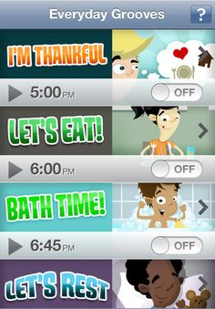 Everyday Grooves are musical prompts that help to establish routines and structure in the everyday lives of parents and young children for daily events such as reading, brushing teeth, and getting dressed.