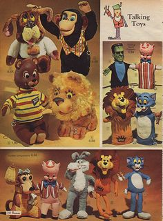 Talking Stuffed Animals in J.C. Penney's Christmas Catalog, 1966, by Wishbook, via Flickr. I had the Biff Bear.