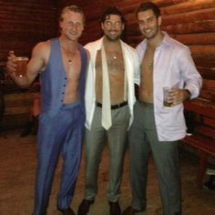 "Tampa Bay Lightning star Steven Stamkos, left, ‏@ RealStamkos91 tweeted this photo of himself with teammates Teddy Purcell, right, and Nate Thompson at Thompson's wedding:  ""I think we had a good time at @NateThompson44 wedding ... Suck it in boyzzzz @teddypurcell16"""