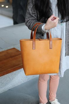 Hand Stitched Light Brown Leather Tote Bag