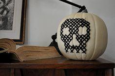 cross stitched skull