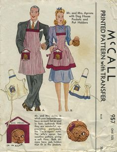 Vintage Apron Sewing Pattern | McCall 957 | Year 1942 | One Size | Mr. and Mrs. Aprons with Dog House Pockets and Pot Holders pocket, 957, pot holder, aprons, dog houses, mccall, apron patterns, sew pattern, sewing patterns