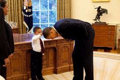 """5 year old Jacob asked President Obama if he could touch his hair, """"I want to know if my hair is just like yours!"""""""