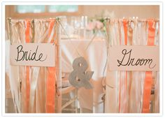 bride and groom streamer chairs
