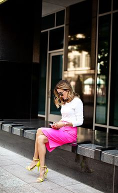 Neon Pencil Skirt and heeled sandals...
