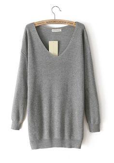 Grey Plain V-neck Long Sleeve Cotton Blend Sweater