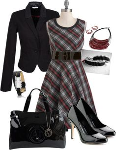 """""""working plaid"""" by tina-harris ❤ liked on Polyvore"""