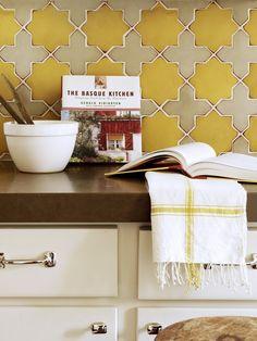 Yellow Moorish Tiles in Kitchen // Designer Crush: Alison Davin