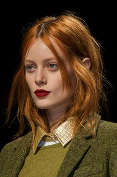 Milan Fall 2014 - MaxMara. red and olive, metallic finish with tweed and knit.