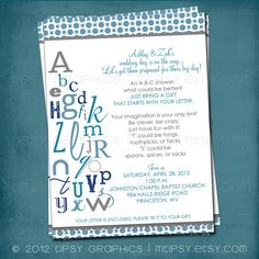 ABC Colorful Alphabet Baby / Bridal Shower Invitation  by MTipsy, $16.00