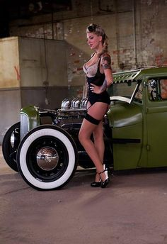 Pin up girl and hot rod car, rat rods, vintage suitcases, hotrod, woman clothing, fashion looks, pinup, hot rods, pin up girls