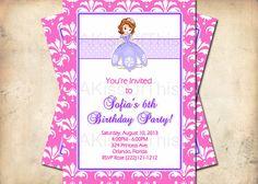 Sofia the First Birthday Invitation - Girls Birthday Party Invite - Custom Made for You