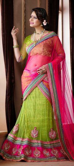 141841: #lehenga #wedding #Bridal #bride #Floral #embroidery #Diwali #Festival #Newyear #Sale #neon #neongreen #neonpink #onlineshopping #ethnic #designer #fashion #Winterfall2014