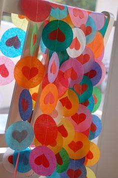 Tissue Paper Heart Garlands