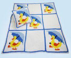 Little Ducky Duddle Afghan and Pillow Crochet Pattern http://www.maggiescrochet.com/little-ducky-duddle-afghan-and-pillow-crochet-pattern-p-384.html #little #ducky #crochet #afghan