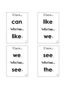 "I have who has for 1st grade ""Treasure"" Sight Words"