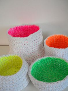 Neon trend - double sided basket neon pink - crocheted and hand painted
