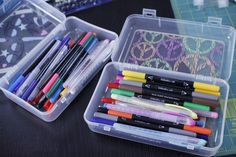 These see-thru plastic cases are perfect for storing all your traveling craft supplies.