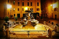Fountain at Piazza Mattei - midnight in Rome