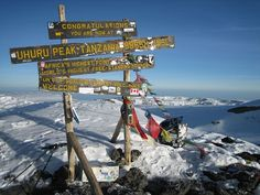 The beloved old sign at the summit of Mount Kilimanjaro. Photo taken by Thomson Trekker, Peter Gaylord.