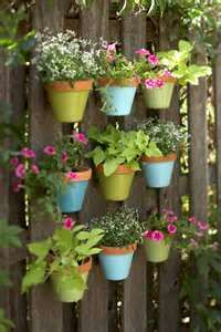 Pots on a wall for a patio terrace garden