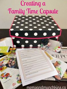 Ideas for creating a time capsule as a family - includes a free printable personal quiz