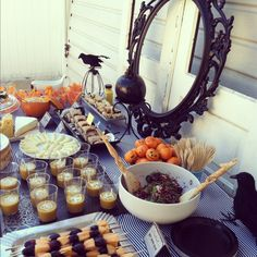 Orange and Black Halloween food table from Partyeclectic.com #halloween