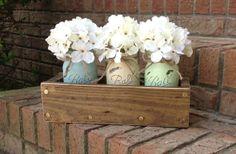 Custom Made Rustic Planter Box with 3 Painted Mason Jars. Mason Jars. Rustic Home Decor.