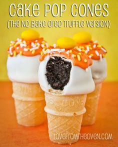 No Bake Oreo Cake Pop Cones.