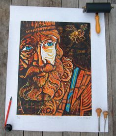 Solomon Reduction Lino Block Print by CartoonReality on Etsy