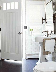 cottage bath.  oiled bronze + white + stone | Schappacher White Ltd.