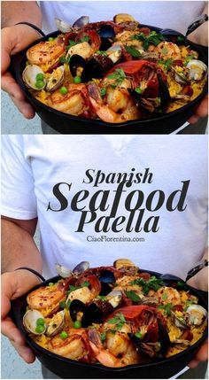 Spanish Seafood Paella (Healthy) A healthy, easy Spanish paella recipe made with the freshest wild caught shellfish, a little chicken andouille sausage, and infused with exquisite saffron flavors. Easy to make at home in no time! - Spanich seafood paella