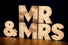 mr  mrs lighting sign