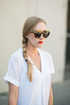 braid and red lip