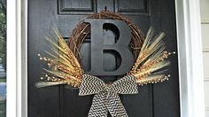 Summer and Fall Wheat Wreath With Black 12 by AnnabelleEveDesigns