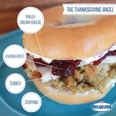 Running out of ways to use your Thanksgiving leftovers? Here's a solution: The Thanksgiving Bagel. It's a great excuse to have leftovers for breakfast, lunch or dinner!